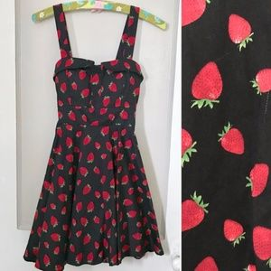 1950s Pinup Style Black Strawberry Dress